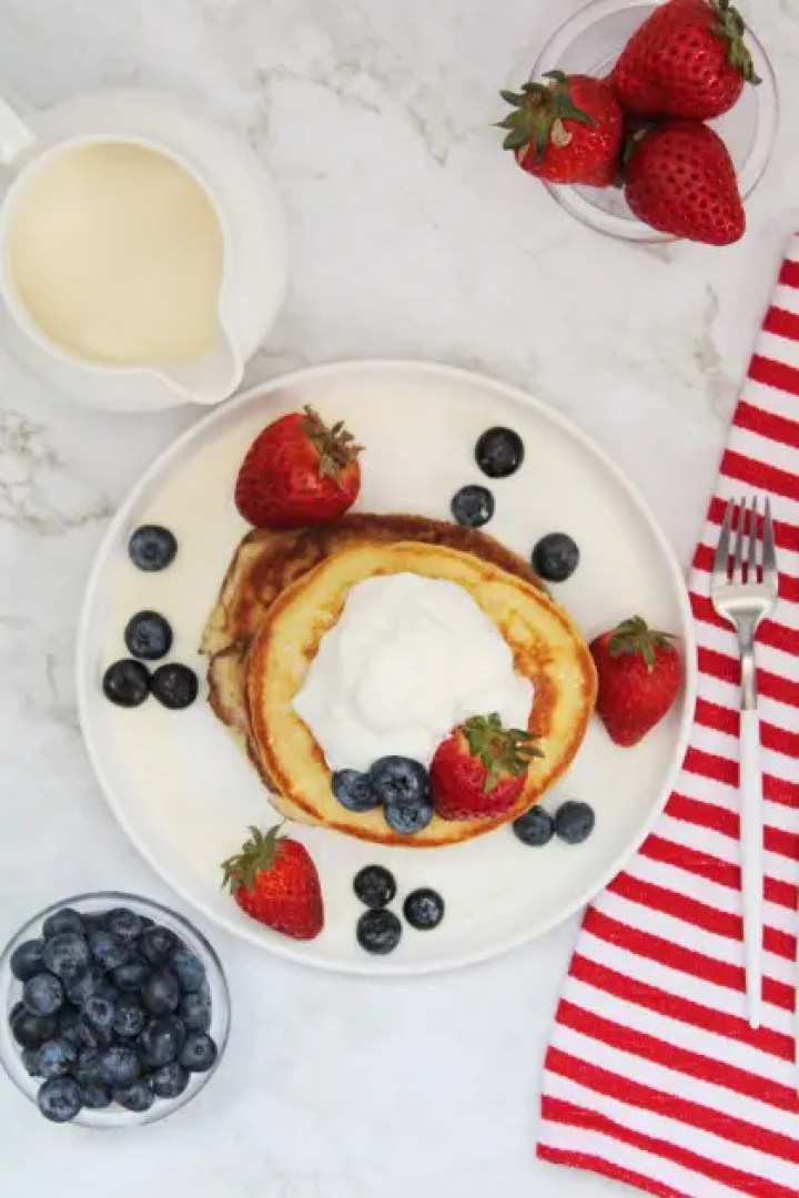 Tres Leches Pancake with Strawberries and Blueberries