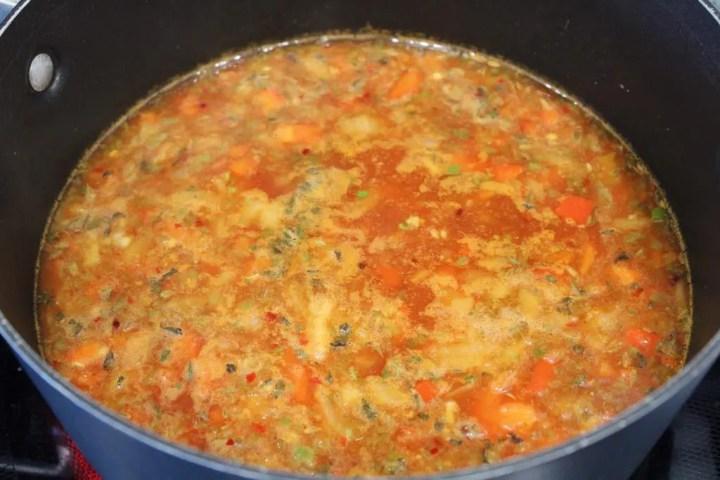 Seafood and tomato broth
