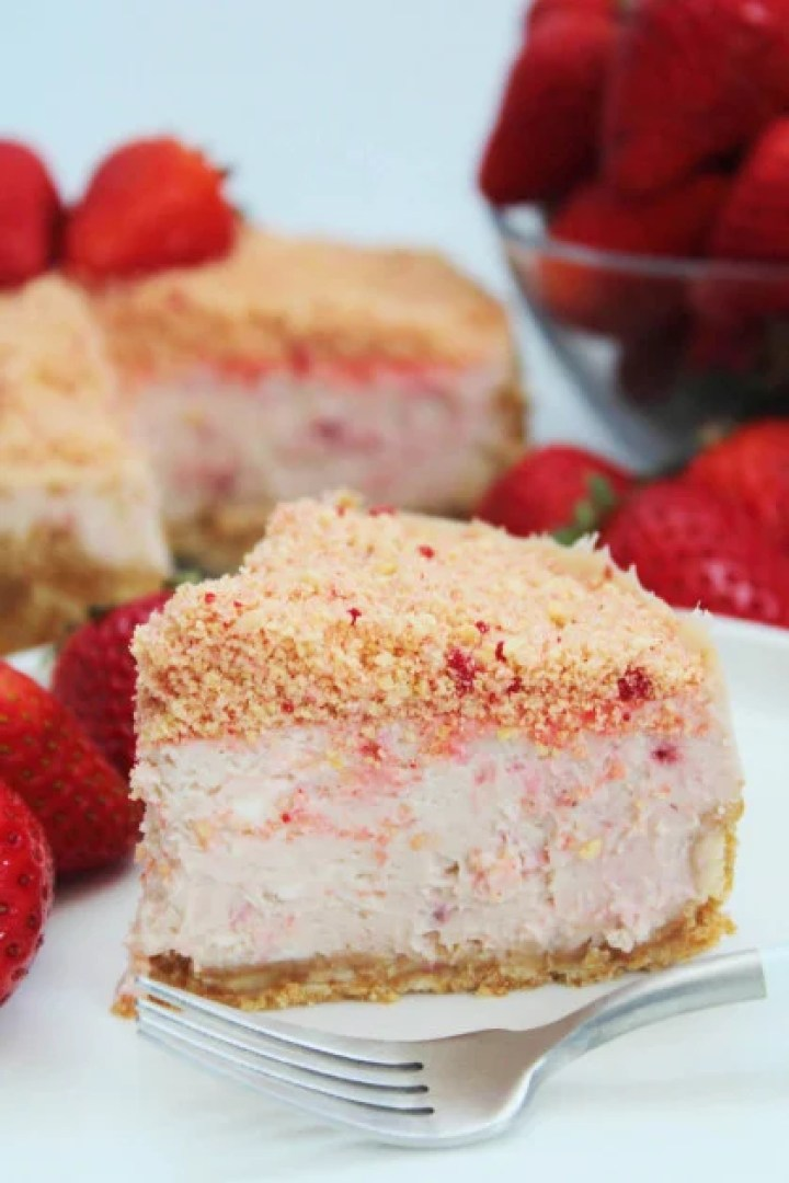 A slice of instant pot cheesecake