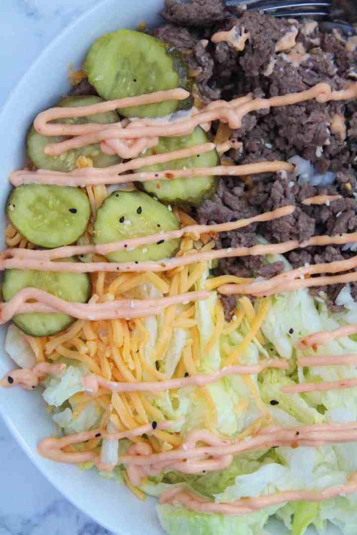 Serving a delicious Mcdonald's copycat Big Mac salad.