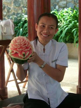 Carved watermelon in Thailand