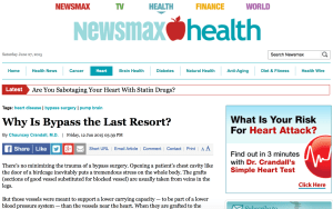 Typical appearance of Newsmax Health. Note that  the offer to assess cardiac risk is a self-serving promo of the book on natural cardiac cures written by the author of the article on the left which summarizes only the negatives of bypass surgery