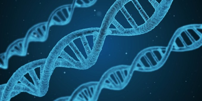 DNA strands blue background genes