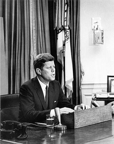 john f kennedy black white president address