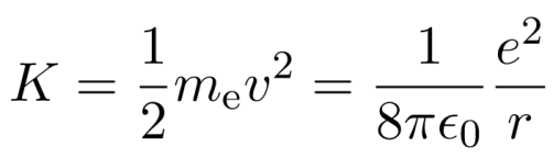 kinetic energy of electron in bohr's atomic model