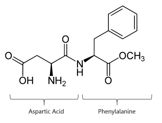 aspartame chemical structure reaction between aspartic acid and phenylalanine