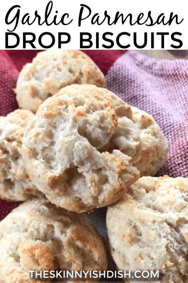 These homemade Garlic Parmesan Drop Biscuits are amazing!  Using the quick and easy 'two ingredient dough' as a base I've added the irresistible flavors of garlic and parmesan to create a biscuit that works perfectly as a side to so many meals! #dropbiscuits #twoingredientdough #ww