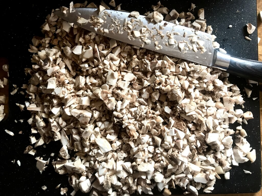 Fresh, finely chopped mushrooms
