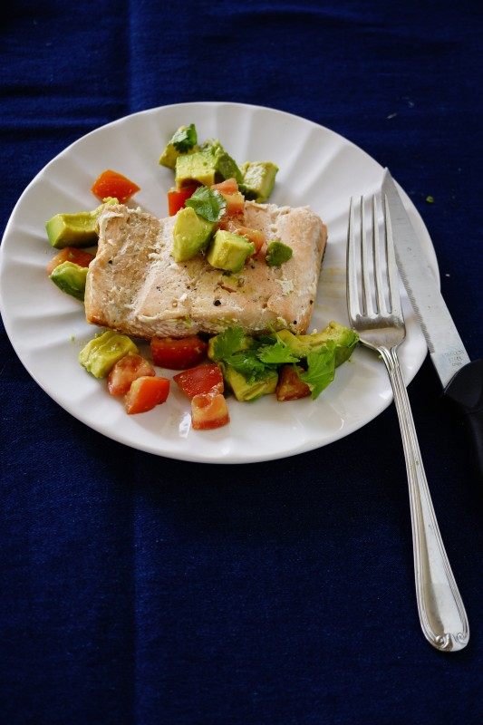 High Protein Dinner - Salmon with Avocado