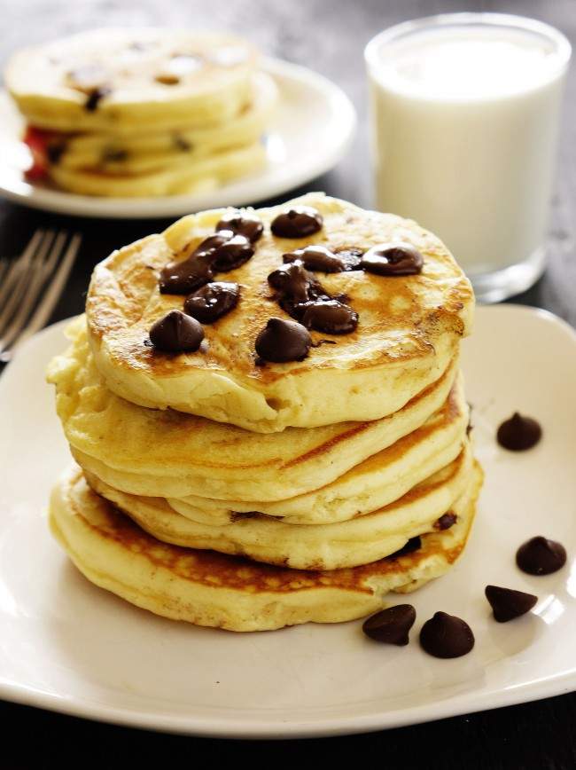 Homemade Chocolate Chips Pancakes