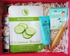 Glossybox February 2016 BioRepublic Cucumber Breeze Soothing Fiber Mask GlamGlow THIRSTYCLEANSE Daily Hydrating Cleanser Etre belle Golden Skin Caviar Eye Roll On Teeez Cosmetics Oasis Gem Lipstick in Heat Wave Ruby Benefit The Porefessional