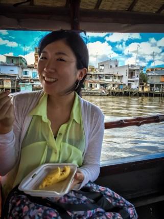 Tour friend enjoying some durian