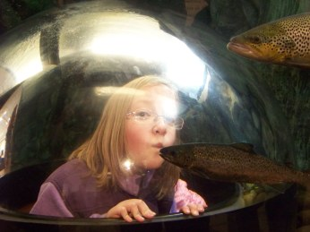 Anna kissing the fish!