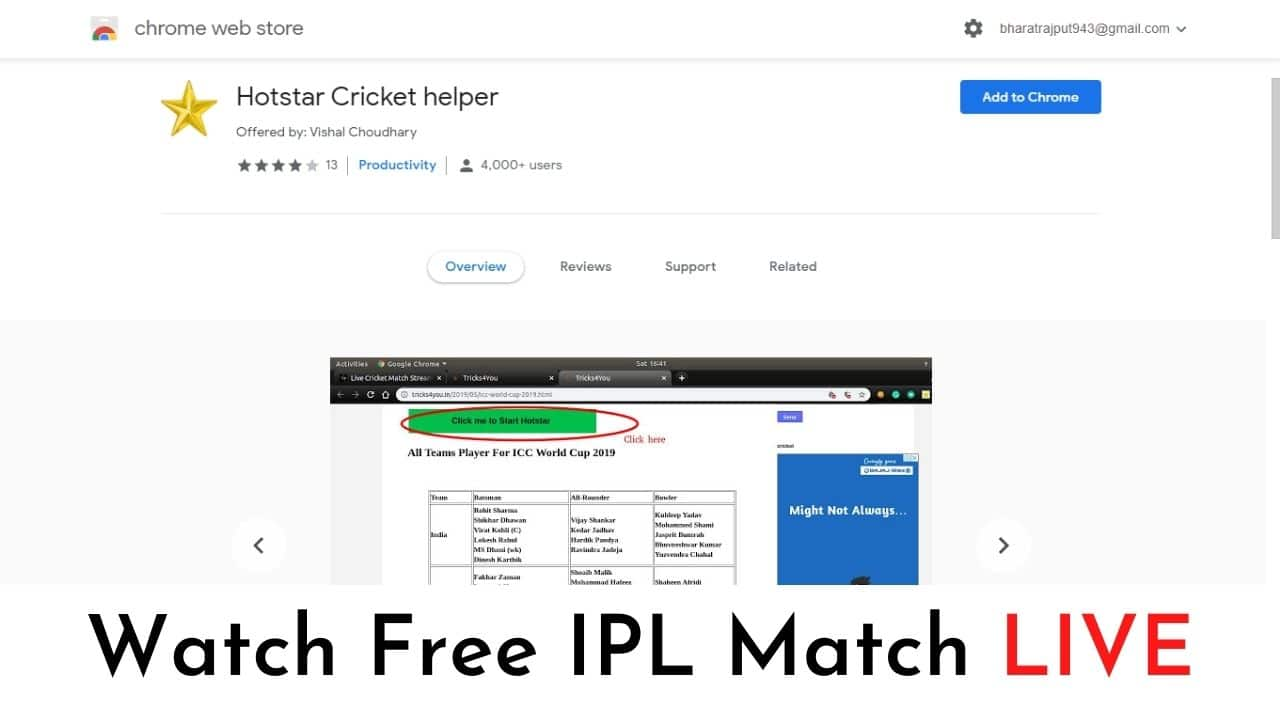Hotstar Free Live Streaming Extension - Hotstar Match Helper