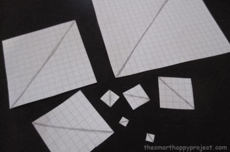 fibonacci spiral in square paper