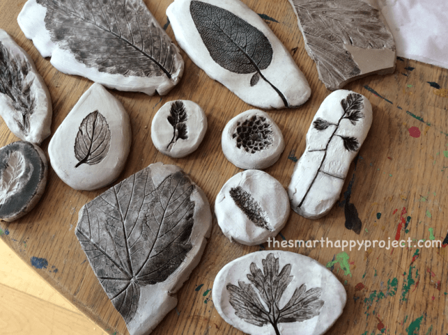 nature crafts with clay for kids