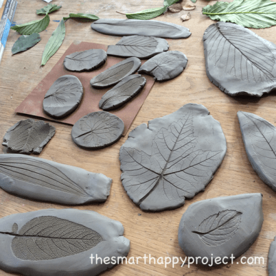 patterns of leaves in clay