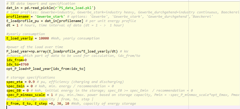 A screenshot of Python showing the parameter definition