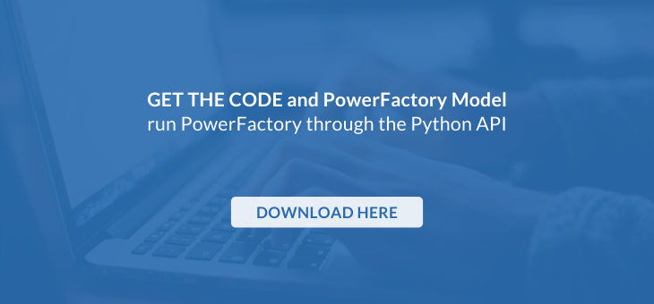 call to action to download the python code to run load flow and rms simulations with digsilent powerfactory