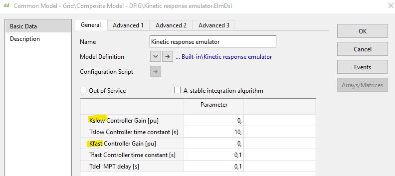 Kinetic response emulator common model in PowerFactory
