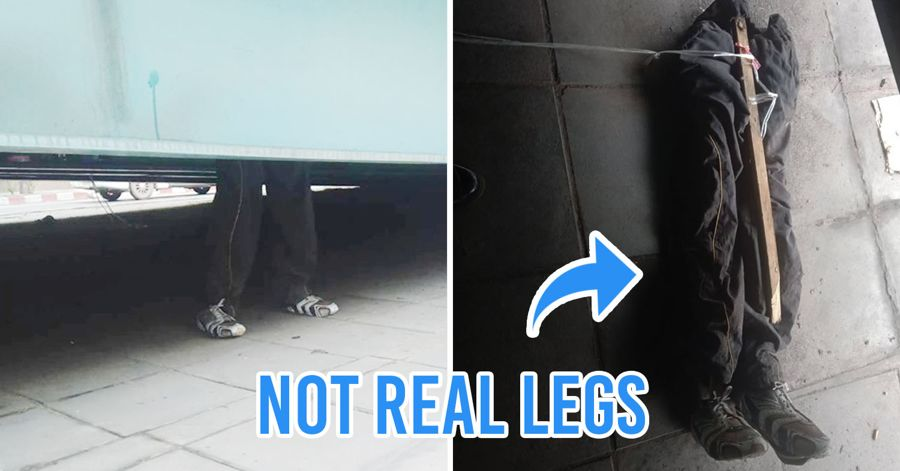 Scary legs seen under bangkok crossing bridge