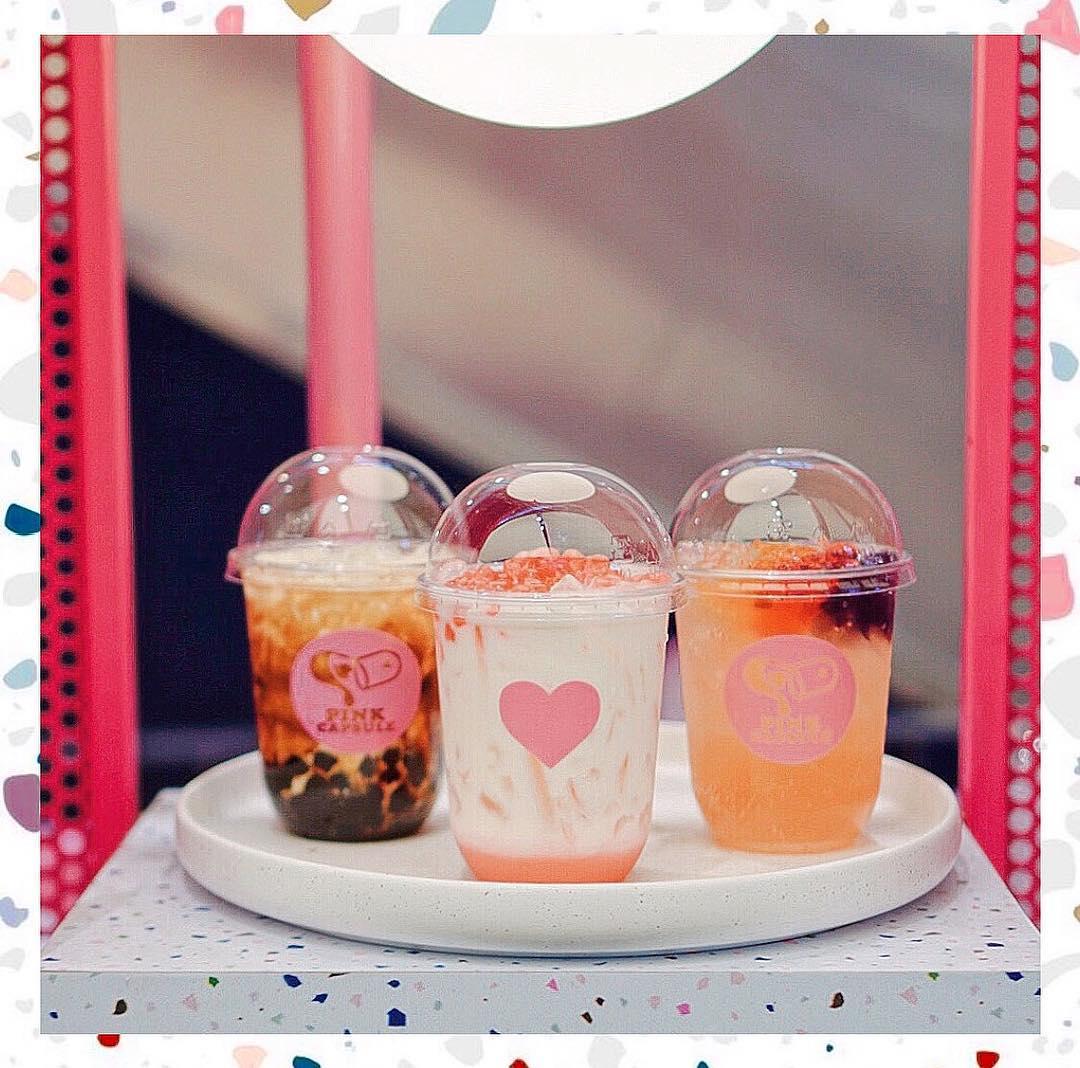 pink capsule low calorie bubble tea