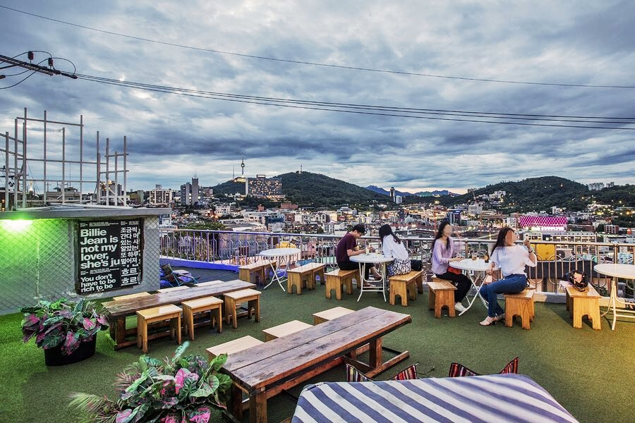 Seoul Restaurants view Korea - mmm records rooftop seating