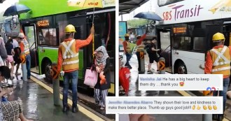 Foreign workers shielding commuters singapore