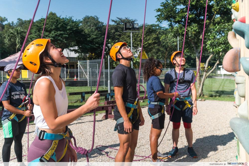 sport climbing looking up