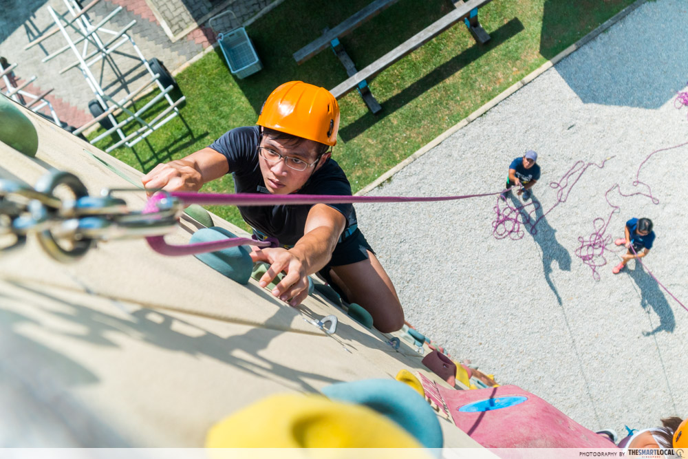 sport climbing top-down pov