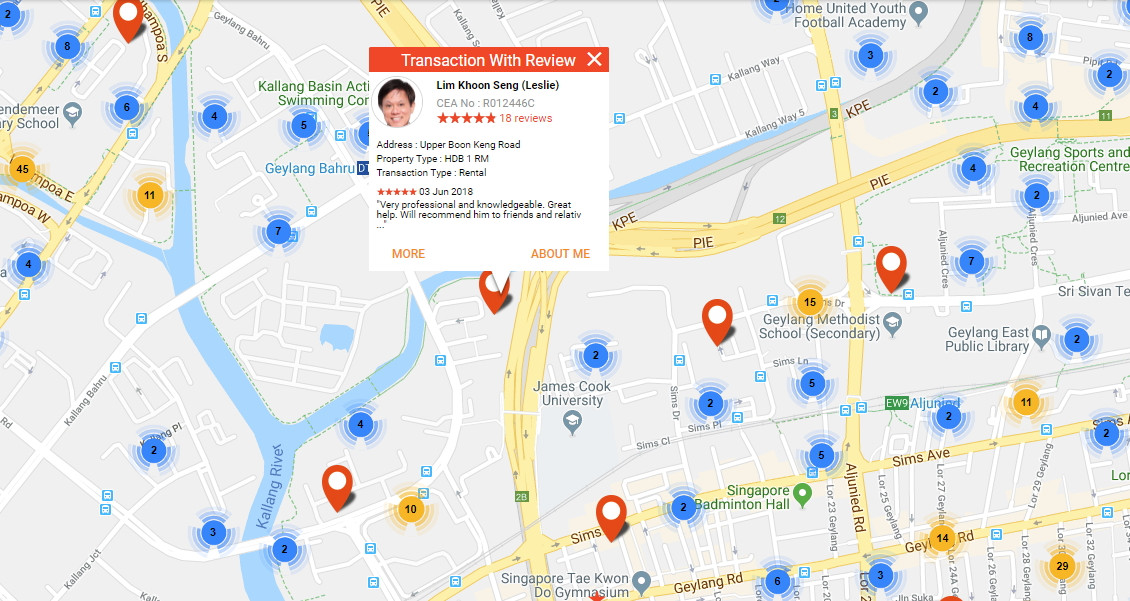 Locate nearby property agents in Singapore with a simple map search.