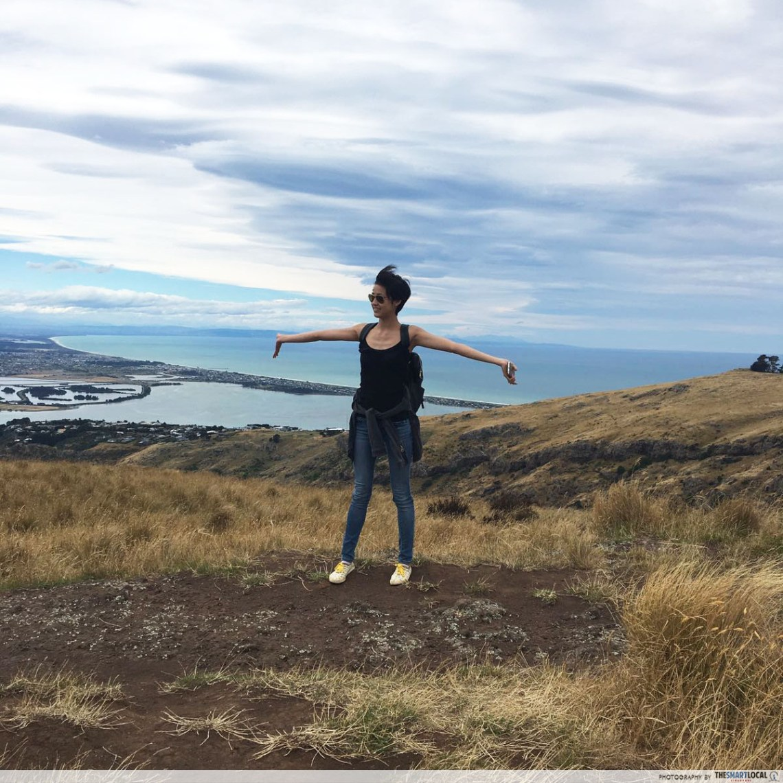 Girl on hill in Christchurch