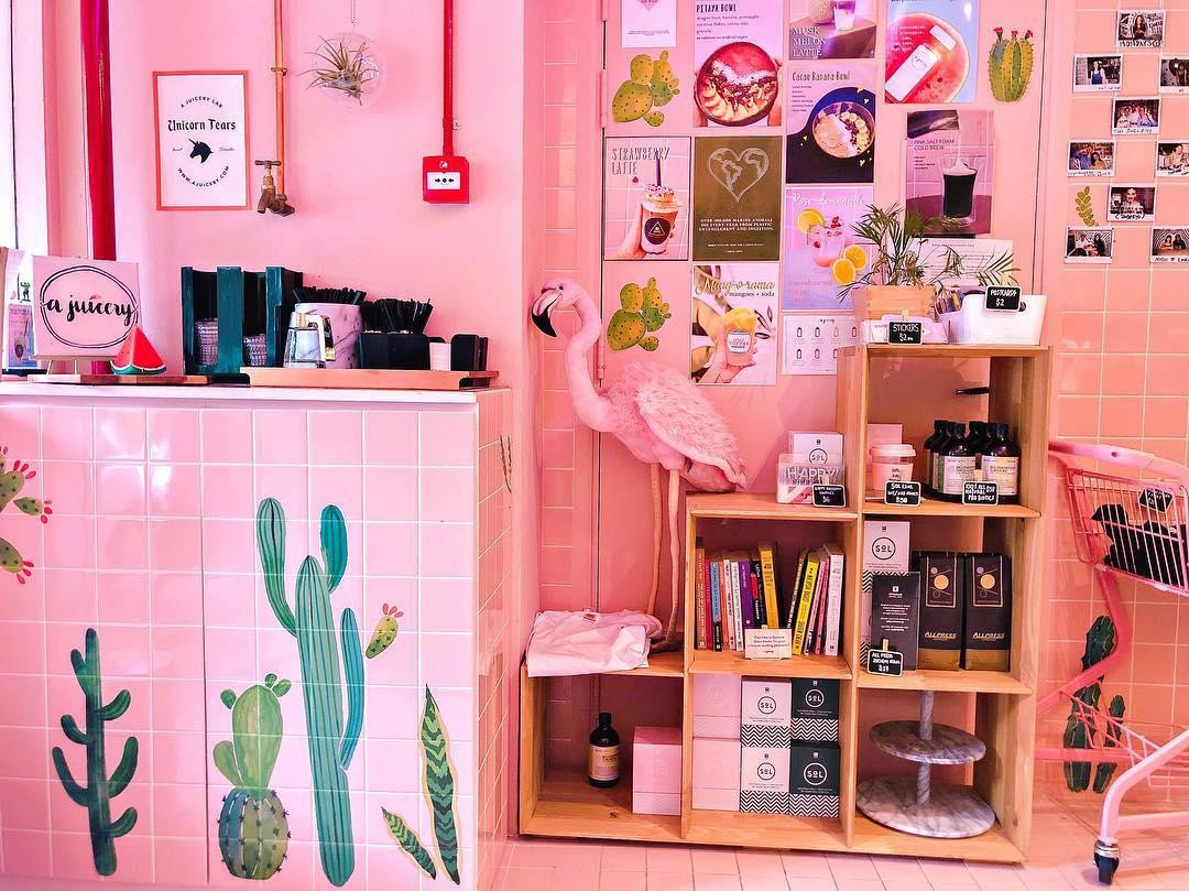 a juicery singapore pink interior