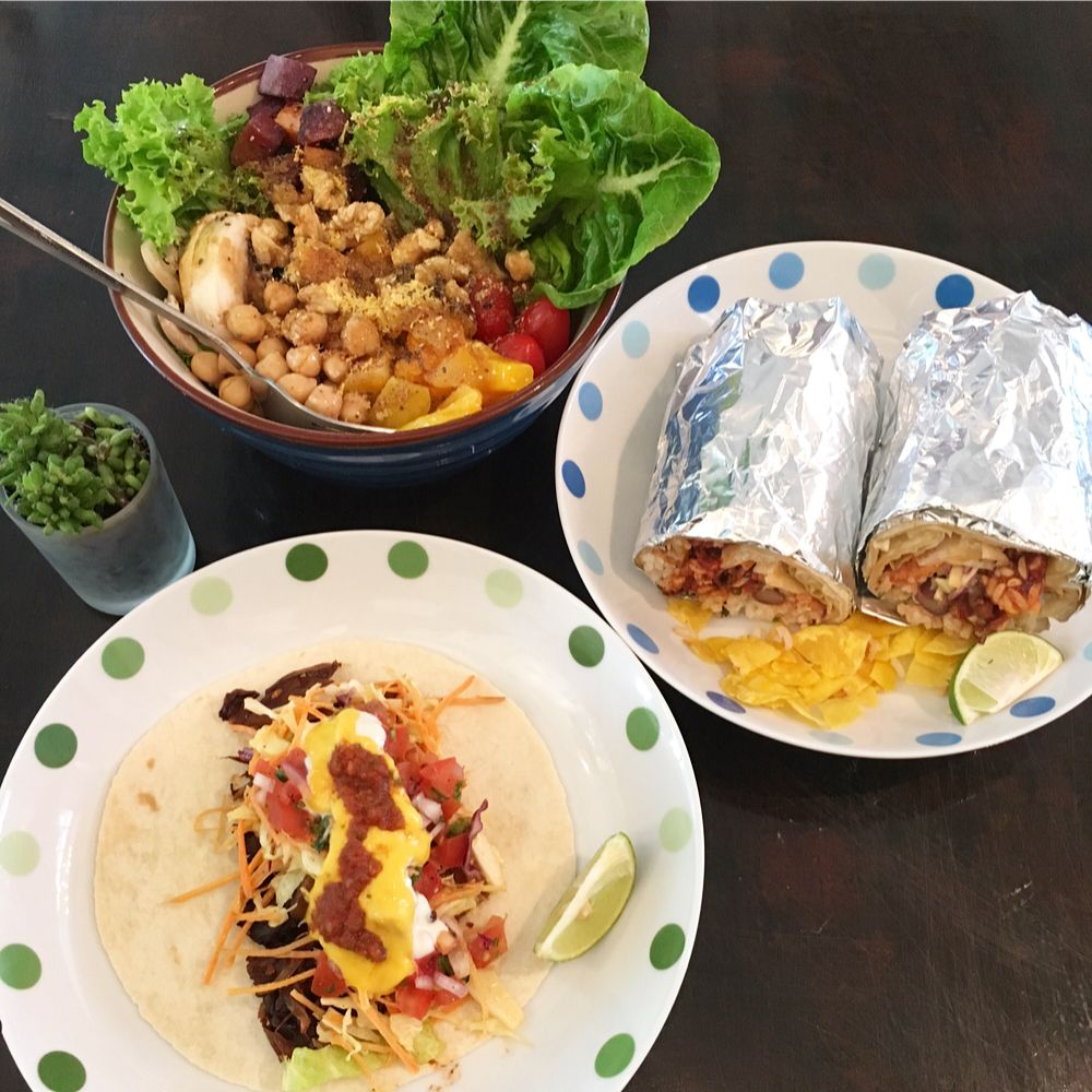 Nourish Bowl, burritos, and BBQ jackfruit tacos at Sala KL