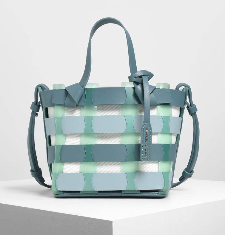 see through woven bucket bag