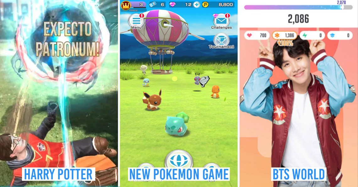 New Mobile Games - collage of Wizards Unite, Rumble Rush, BTS World
