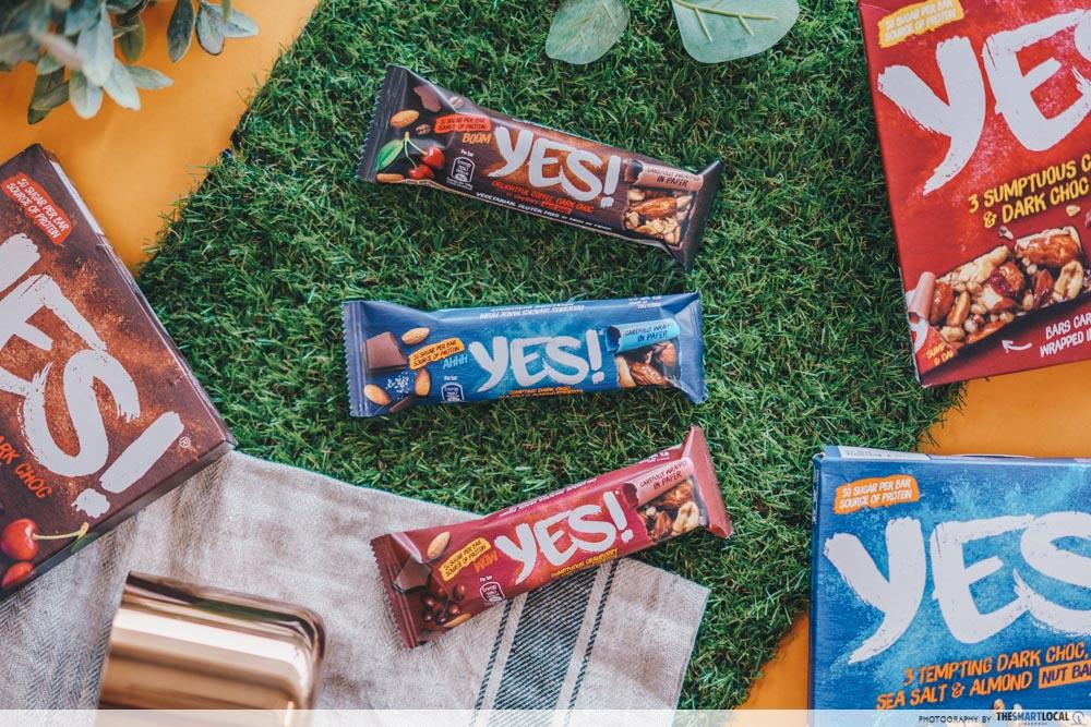 nestle yes bar - flatlay of yes bars