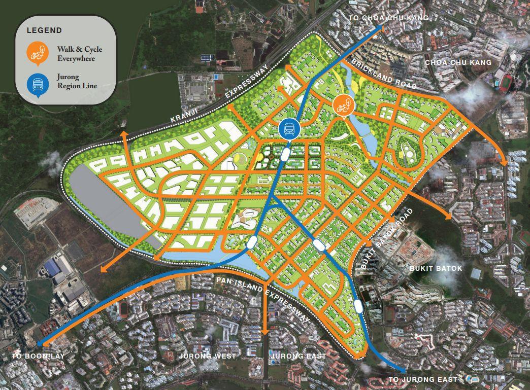 tengah estate - tengah town map connection to jurong, bukit batok, choa chu kang, boon lay