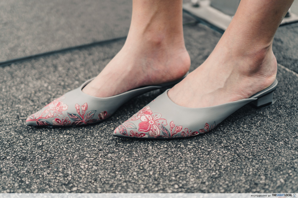 charles & keith cny collection - embroidered floral mules in grey