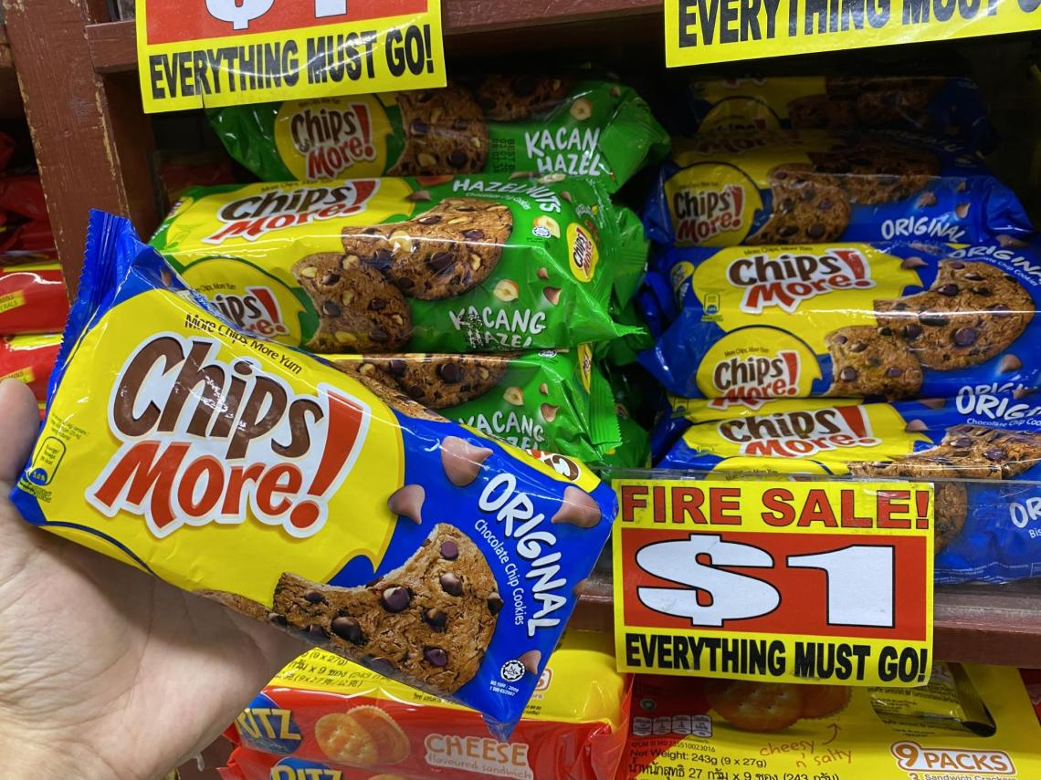 Chipsmore chocolate chip cookies at the value dollar store in Singapore