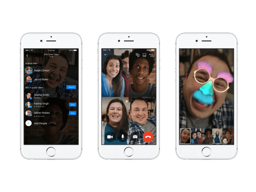 Facebook Messenger allows a large group of participants to join in on your video call.