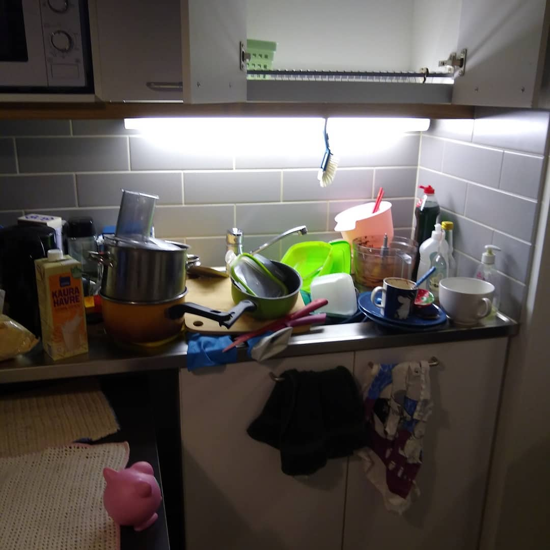 cluttered sink