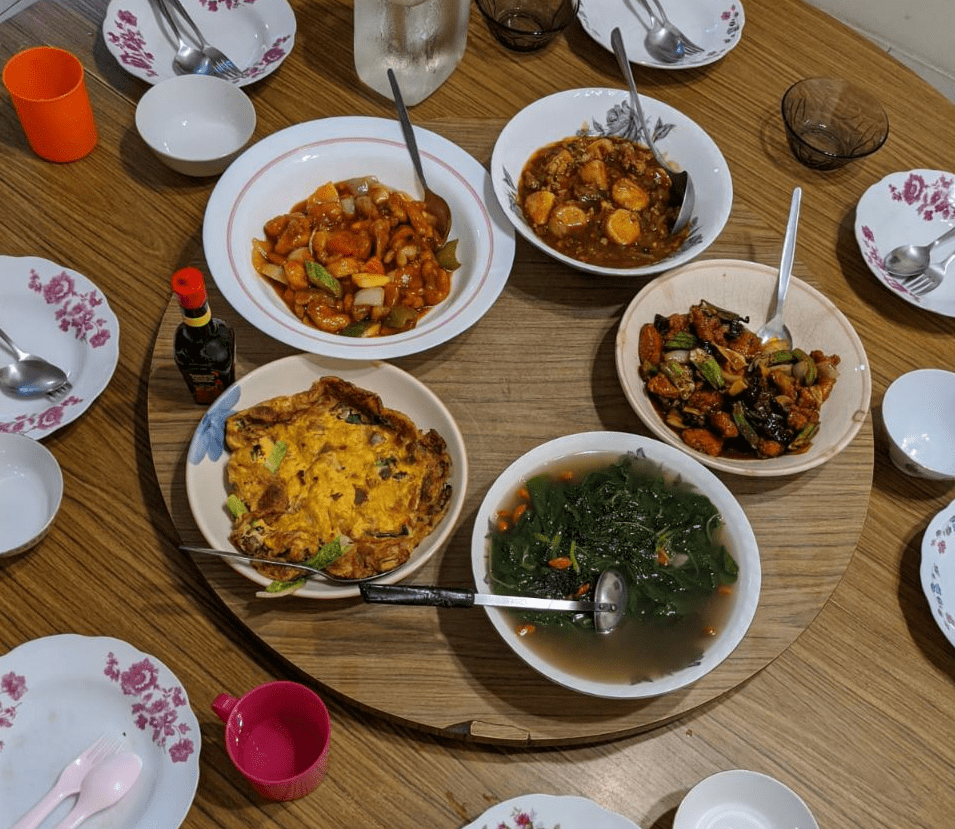 homecooked Chinese dinner