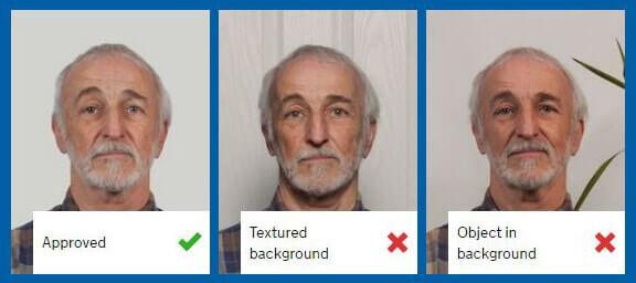 example of the correct background to use for taking passport photos at home with your phone