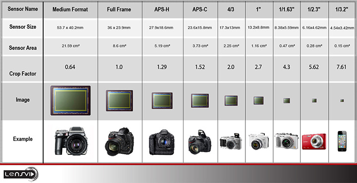 chart that shows sensor size for various types of cameras