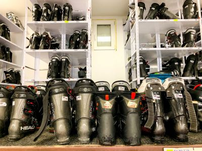 Selection of ski boots at Skimania