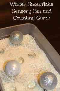 Winter Snowflake Sensory Bin and Counting Game kids activity Mom Explores the Smokies