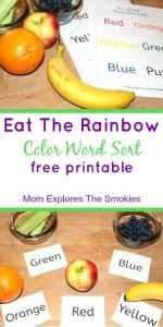Eat The Rainbow Color Word Sort, Mom Explores The Smokies