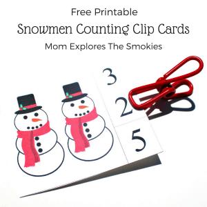 Printable Snowmen Counting Clip Cards, Mom Explores The Smokies