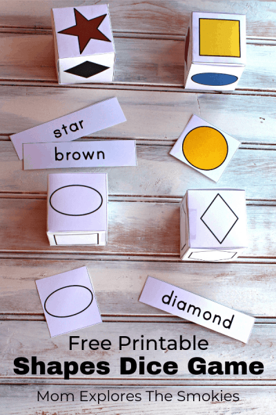 Shapes: Printable Dice Games for Kids